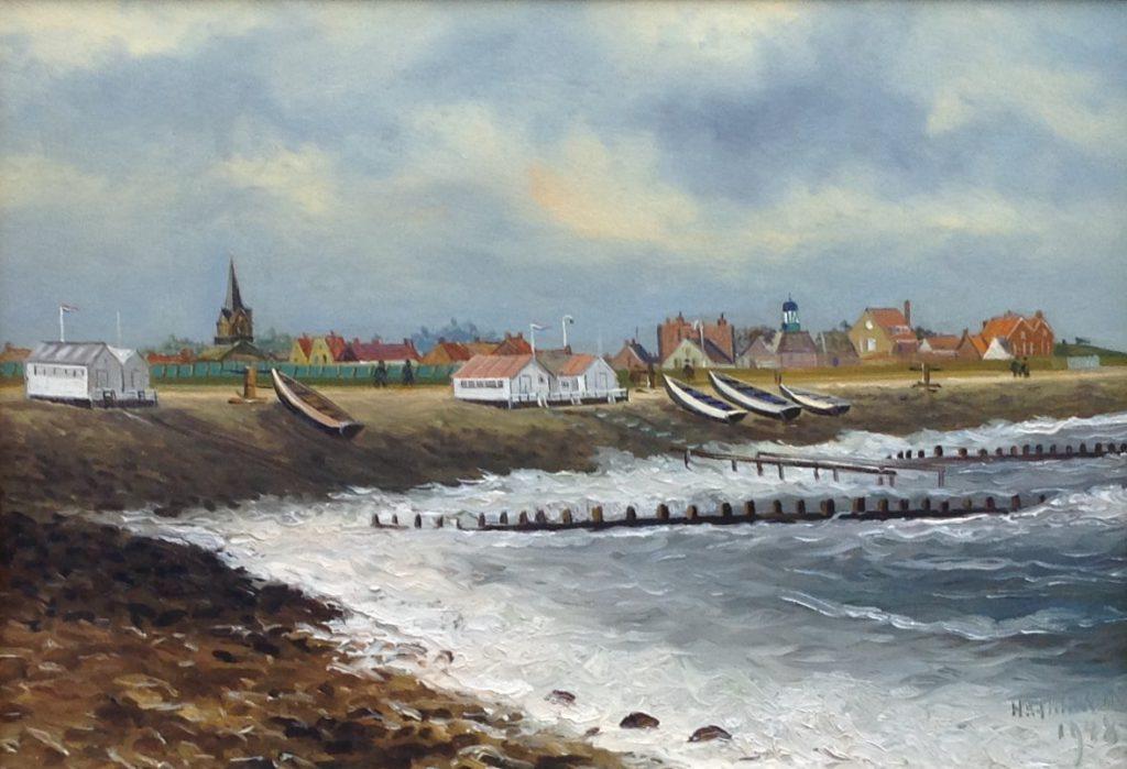 Schilderijen te koop, kunstschilder Haaike Abraham Jaarsma Strandhuisjes r.o. gesigneerd, Expositie Galerie Wijdemeren Breukeleveen