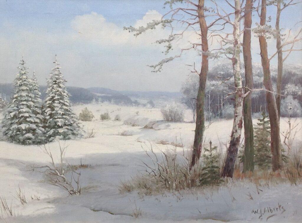 Kunstenaar W.J. Alberts C792, W.J. Alberts Winterlandschap Olie op doek Rechtsonder gesigneerd particuliere collectie