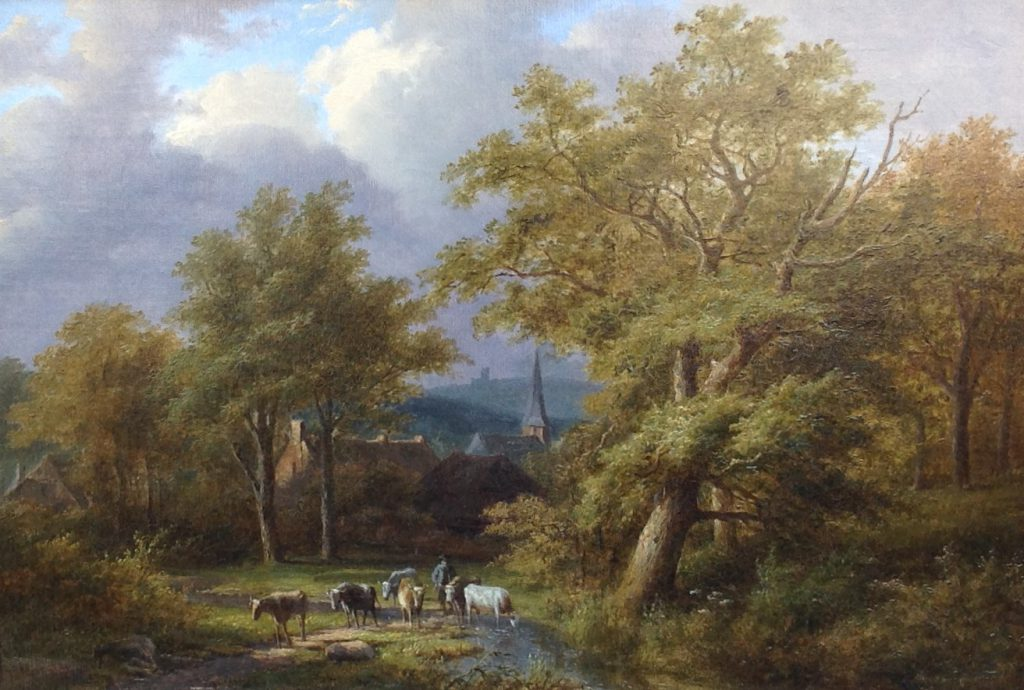 Kunstenaar Jan Evert Morel Jr. C817T, J.E. Morel jr Bosgezicht olie op doek, 36 x 51 cm l.o. gesigneerd  verkocht