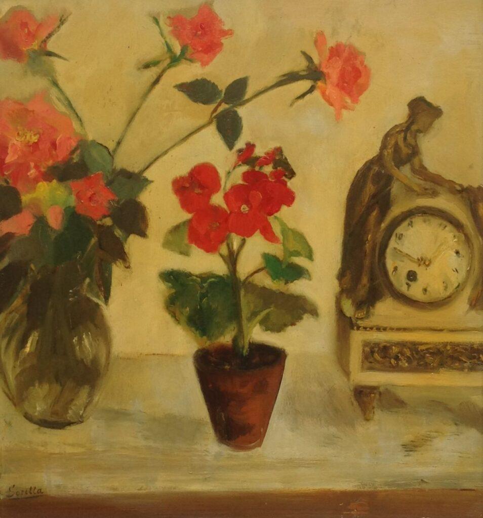 C820 Theresa 'Sorella' Ansingh Stilleven Olie op board, boardmaat 48.5 x 44.5 cm Linksonder gesigneerd verkocht, schilderijen te koop bij galerie wijdemeren breukeleveen, kunst te koop, exposities