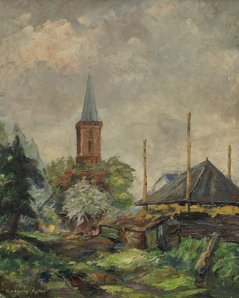 Schilderijen te koop van kunstschilder M. Heering-Gallis Dorpsgezicht met kerktoren olie op doek, 76 x 61 cm l.o. gesigneerd, Expositie Galerie Wijdemeren Breukeleveen