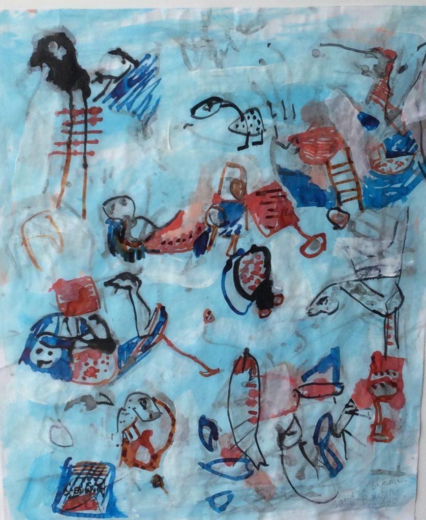 schilderijen te koop van kunstschilder, Sandra Blaauw - de Bruyne Theater II gemengde techniek op papier, beeldmaat 51 x 41 cm rechtsonder gesigneerd en gedateerd 2000, expositie, galerie wijdemeren breukeleveen