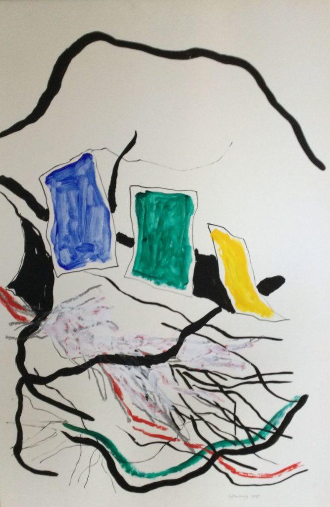 Kunst te koop bij Galerie Wijdemeren van kunstschilder Therese Uytenborg Abstracte compositie gemengde techniek op papier, beeldmaat 99.5 x 69 cm gesigneerd rechtsonder, gedateerd 1990