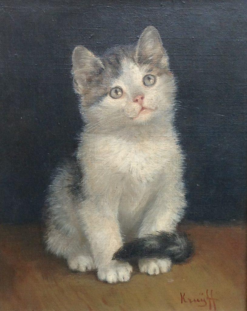 Kunstenaar Anna Maria Stork Kruijff C84, Kruijff Poes olie op doek 26 x 21 cm r.o. gesigneerd verkocht
