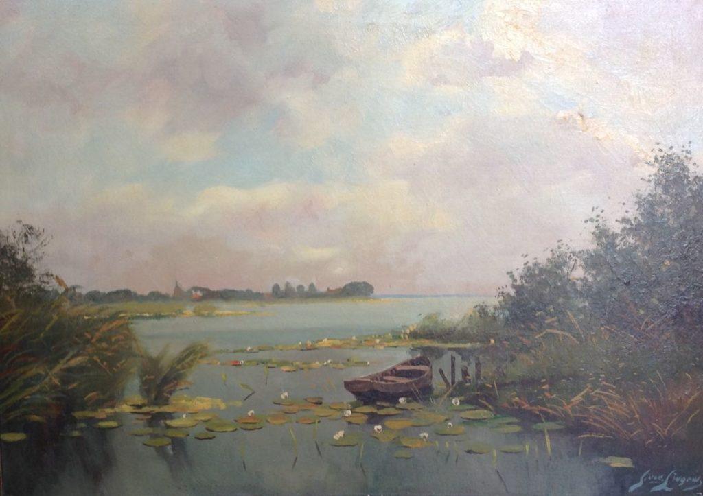 Kunst te koop bij Galerie Wijdemeren van kunstschilder Jan van Lingen Plasgezicht olie op doek, 50.5 x 70.5 cm rechtsonder gesigneerd