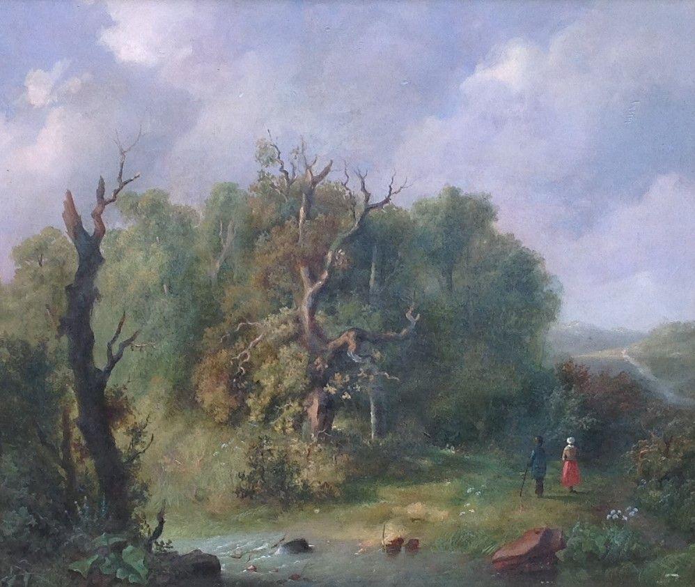 Kunstenaar Marinus Adrianus Koekkoek I C89, M.A. Koekkoek I, 'Romantisch landschap' Olie op paneel, beeldmaat: 32,5 x 38 cm
