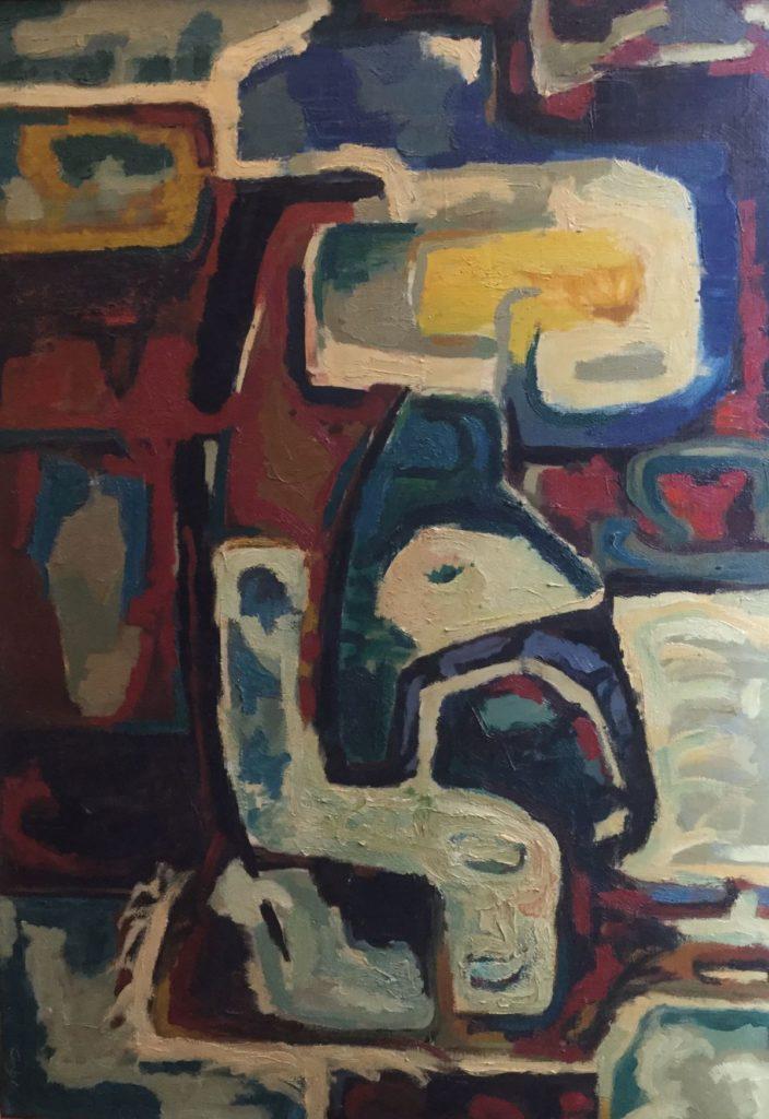 Schilderijen te koop van kunstschilder Jaap de Carpentier Compositie 63 Olie op doek, Expositie Galerie Wijdemeren Breukeleveen