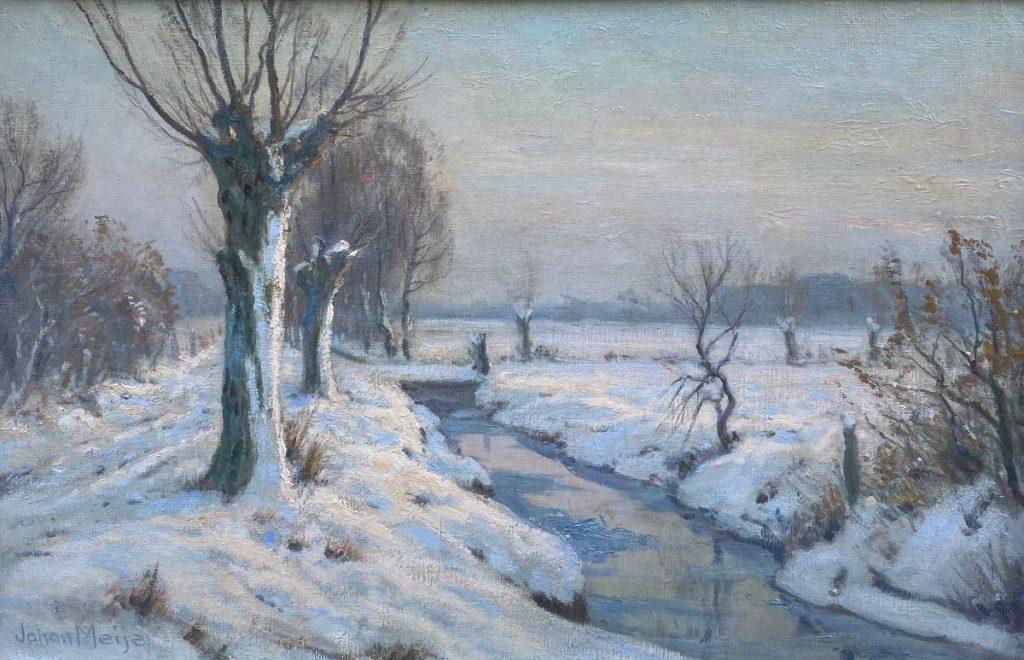 Schilderijen te koop van kunstschilder Johan Meijer Wintermorgen olieverf op doek, 51 x 71 cm linksonder gesigneerd, Expositie Galerie Wijdemeren Breukeleveen