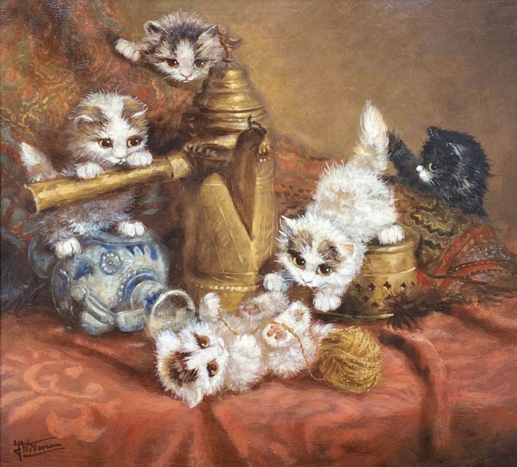 Schilderijen te koop, Johannes Wouterus van Trirum Spelende kittens olieverf op paneel, 31 x 33 cm gesigneerd linksonder, Kunst, Expositie, Galerie Wijdemeren Breukeleveen