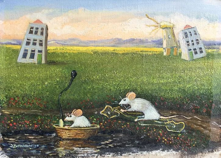 Schilderijen te koop, kunstschilder Jean Thomassen Hollands landschap met ratten Maroufle, 12 x 17 cm l.o. gesigneerd en gedateerd 90, Expositie Galerie Wijdemeren Breukeleveen
