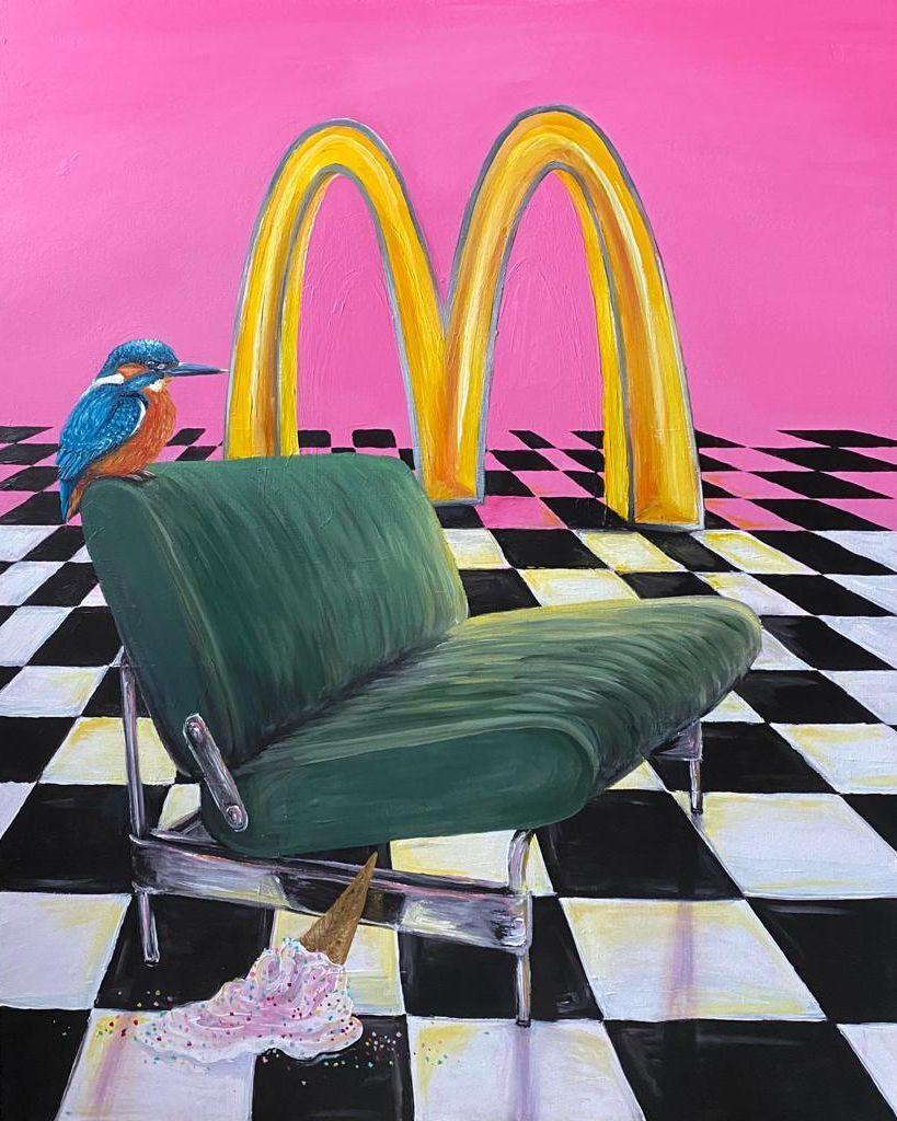 Kunst te koop bij Galerie Wijdemeren van kunstschilder Salam Kadhim Twee voor Twaalf acryl op doek, 100 x 80 cm