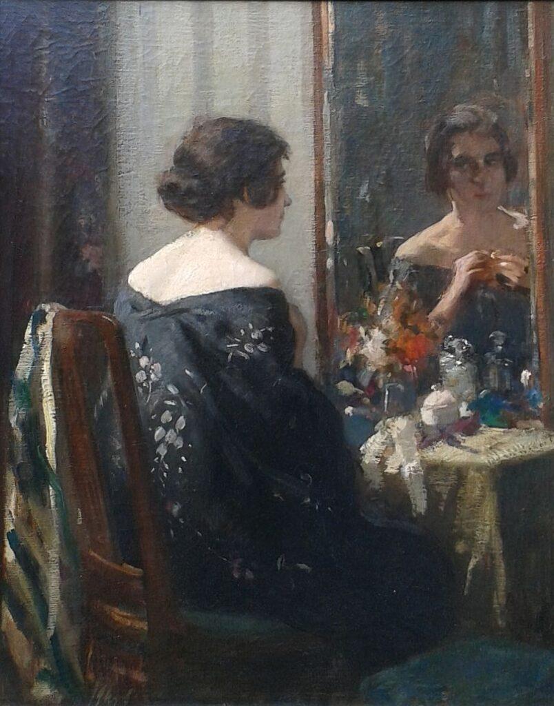 Kunstenaar Salomon Garf B1593, Salomon Garf spiegelende dame olie op doek, 62 x 50.5 cm verkocht
