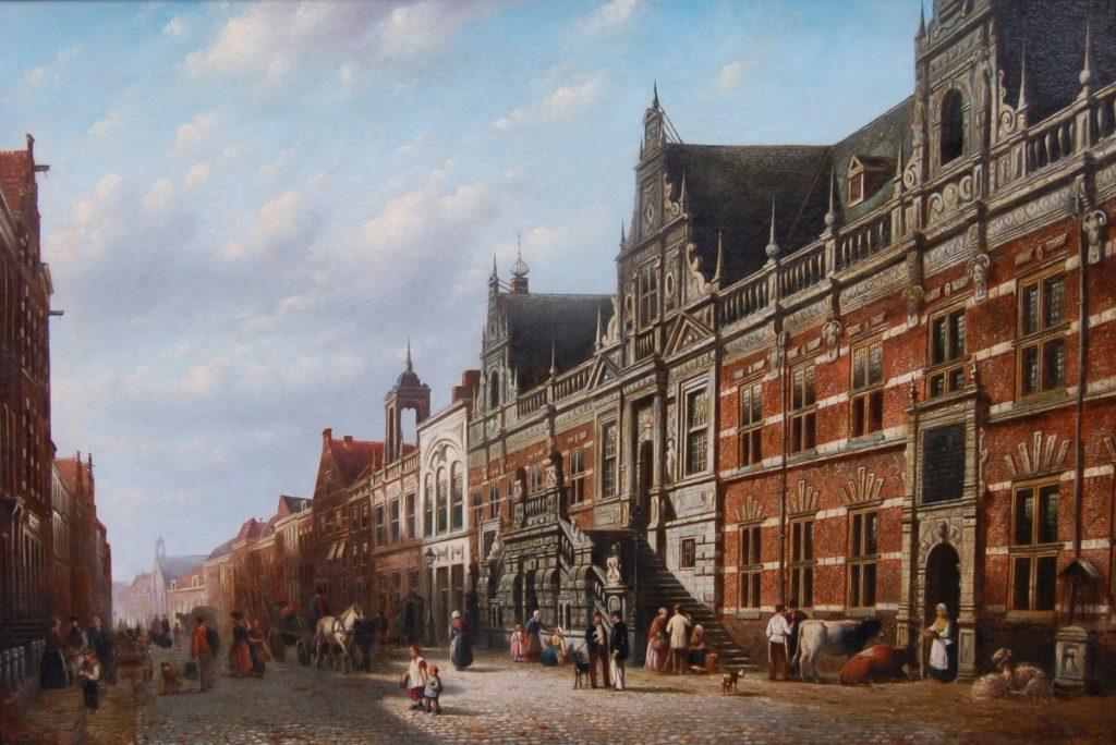 Kunstenaar J.F. Spohler   B1780, J.F. Spohler - Gezicht op de Breestraat te Leiden olie op doek, 73 x 108 cm, rechtsonder gesigneerd 'J.F. Spohler' particuliere collectie