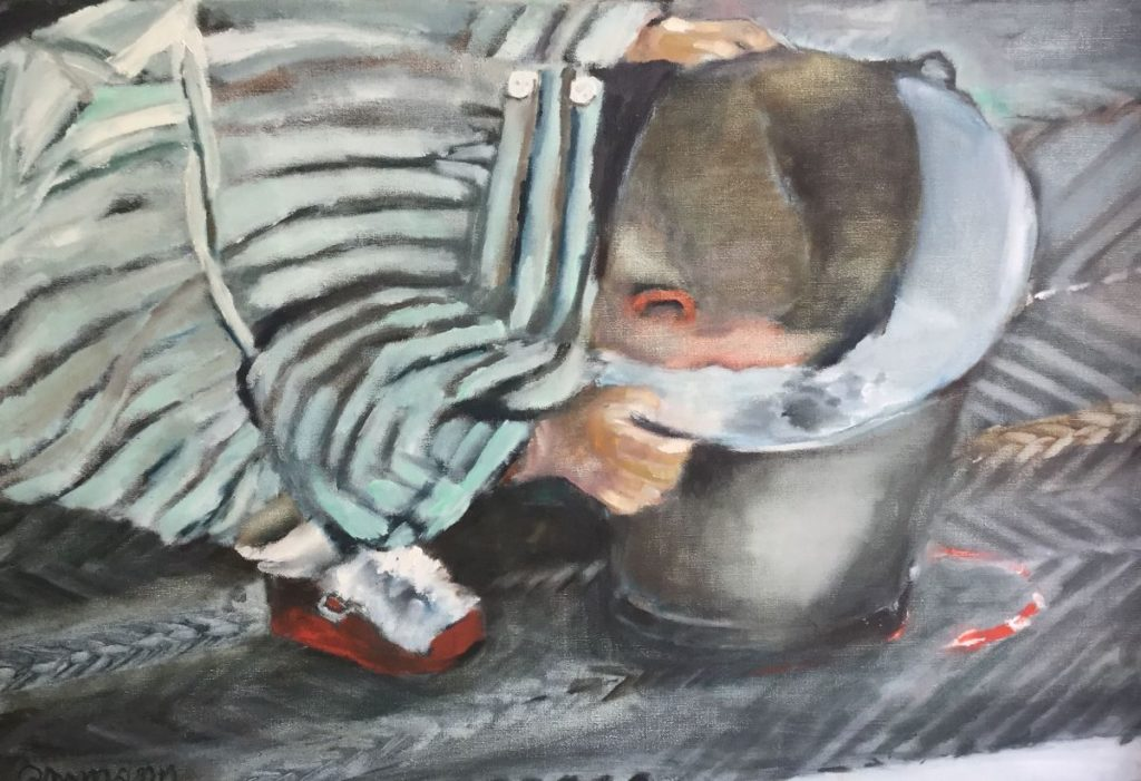 Schilderijen te koop van kunstschilder Marie José Amman ziek kind olie op doek, doekmaat 60 x 90 cm linksonder gesigneerd, Expositie Galerie Wijdemeren Breukeleveen