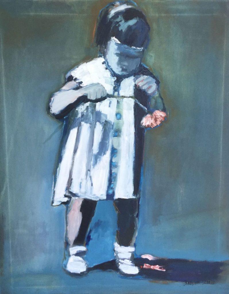 Schilderijen te koop van kunstschilder Marie José Ammann meisje met bloem olie op doek, doekmaat 100 x 80 cm rechtsonder gesigneerd gereserveerd, Expositie Galerie Wijdemeren Breukeleveen