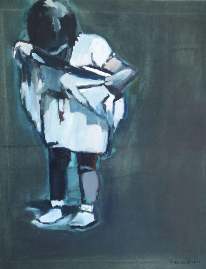 Schilderijen te koop van kunstschilder Marie José Ammann meisje met witte jurk olie op doek, doekmaat 100 x 80 cm rechtsonder gesigneerd, Expositie Galerie Wijdemeren Breukeleveen