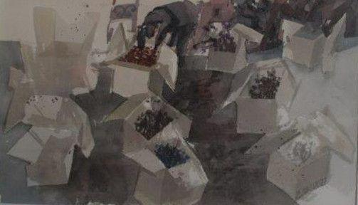 Schilderijen te koop, kunstschilder Jaap Ploos van Amstel Waterlooplein - dozen aquarel, rechtsonder in aquarel gesigneerd beeldmaat 31.5 x 51 cm, expositie Galerie Wijdemeren Breukeleveen