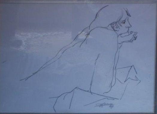 Schilderijen te koop van kunstschilder Gijs Voskuijl Vrouw in gedachten houtskool op papier,beeldmaat 49 x 63 cm rechtsonder gesigneerd en gedateerd 1971, Expositie Galerie Wijdemeren Breukeleveen