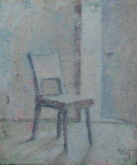 Kunstenaar Hans de Vries B9163-Z19 Hans de Vries Stoel met openstaande deur olieverf op doek, 30 x 24 cm rechtsonder gesigneerd en gedateerd 99