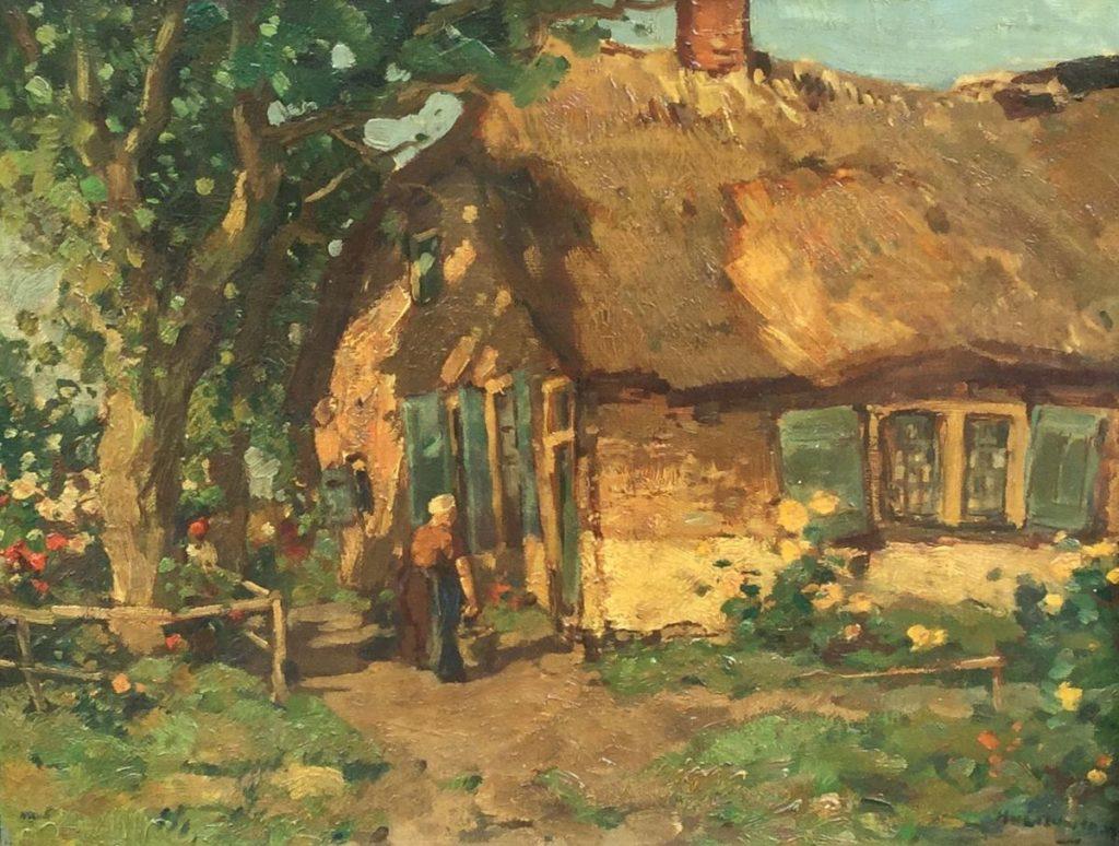 Schilderijen te koop van kunstschilder H. van Leeuwen Huis op de veluwe olie op doek,doekmaat 34,5 x 45 cm r.o. gesigneerd, Expositie Galerie Wijdemeren Breukeleveen