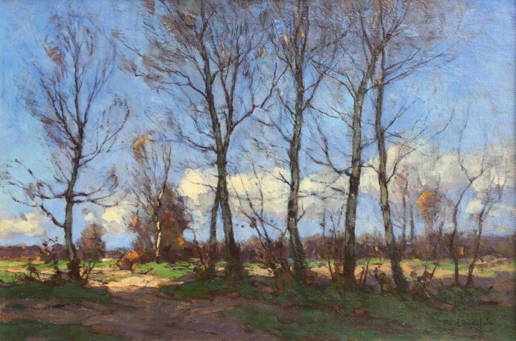 schilderijen te koop van kunstschilder, Paul Bodifee Bosgezicht in het voorjaar olie op board, boardmaat 27,5 x 40,5 cm rechtsonder gesigneerd, expositie, galerie wijdemeren breukeleveen