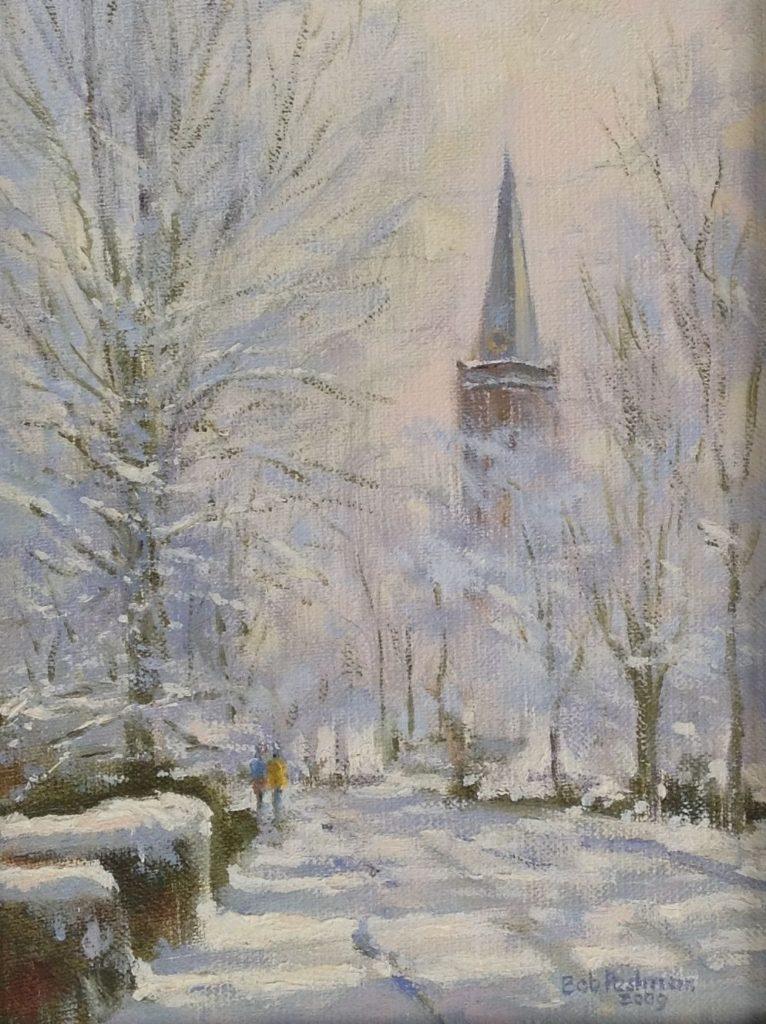 Schilderijen te koop, kunstschilder Bob Pestman, A3669, kerk Nieuw Loosdrechtse dijk in de sneeuw olie op doek, kunst, expositie, Galerie Wijdemeren Breukeleveen