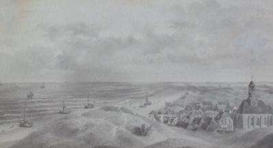 Schilderijen te koop, kunstschilder Jan Lutgens Gezicht op Noordwijk sepia, beeldmaat 19 x 35 cm, Expositie Galerie Wijdemeren Breukeleveen