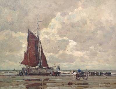 Kunstenaar Wilhelm Hambuchen A5960, Wilhelm Hambüchen Het uitladen van de vangst, olie op doek, 60,3 x 80,5 cm gesigneerd l.o. verkocht