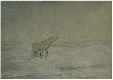 Kunstenaar Louis Apol C001 Louis Apol IJsbeer op Noordpool gouache verkocht