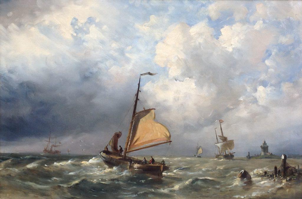 Schilderijen te koop, kunstschilder N.M. Wijdoogen Zeegezicht olie op doek, doekmaat 37 x 54 cm rechtsonder gesigneerd, Expositie Galerie Wijdemeren Breukeleveen