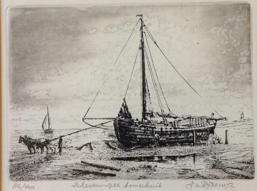 Schilderijen te koop van kunstschilder Jan van Rijsewijk Scheveningse bomschuit ets, beeldmaat 13.5 x 18.5 cm oplage 86/400, handgesigneerd, Expositie Galerie Wijdemeren Breukeleveen