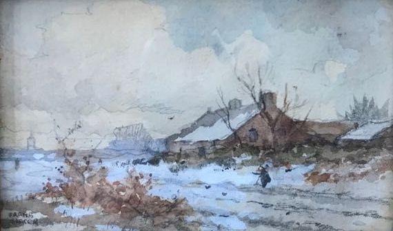 Kunstenaar Frans Slager c1890-1, Frans Slager Boerderij in de sneeuw Aquarel op papier, beeldmaat: 5,5 x 9 cm Linksonder gesigneerd.