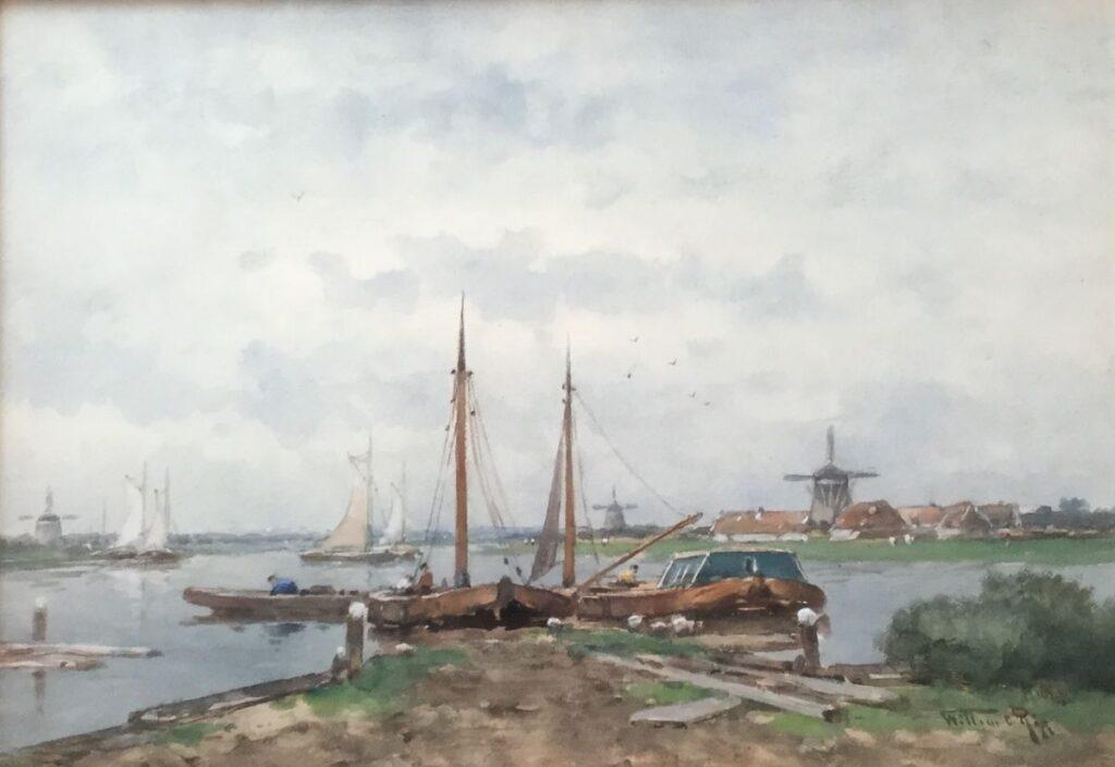 Kunstenaar W.C. Rip C3349, Willem Rip Bootjes aan de kade aquarel, 35,5 x 50 cm