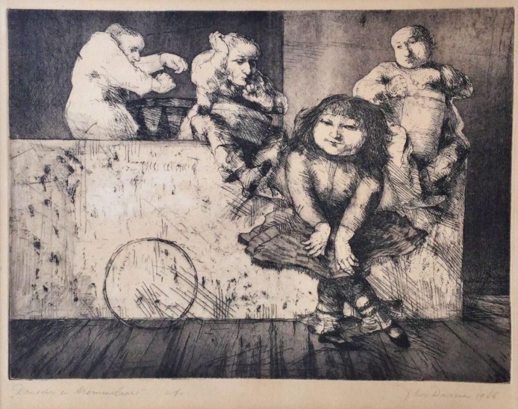 Kunst te koop bij Galerie Wijdemeren van kunstenaar Theo Daamen Danseres en trommelaars ets, 34 x 42 cm rechtsonder gesigneerd en gedateerd 1966