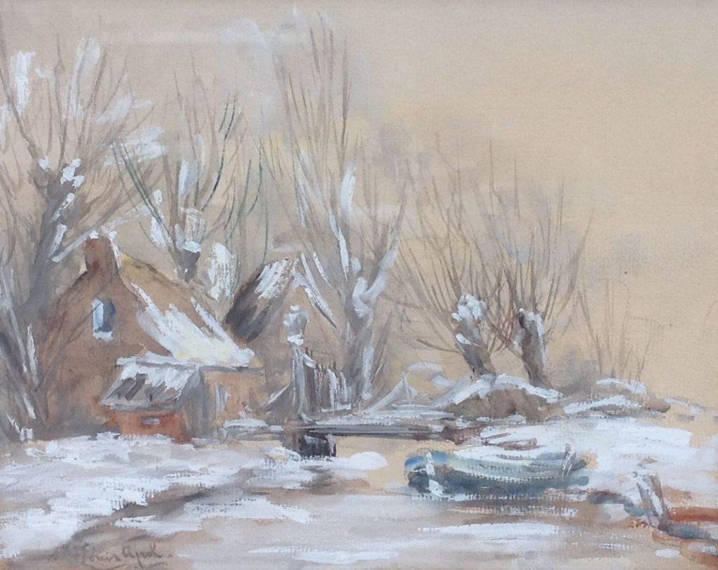 Kunstenaar Louis Apol C341 Louis Apol winterse vaart gouache verkocht
