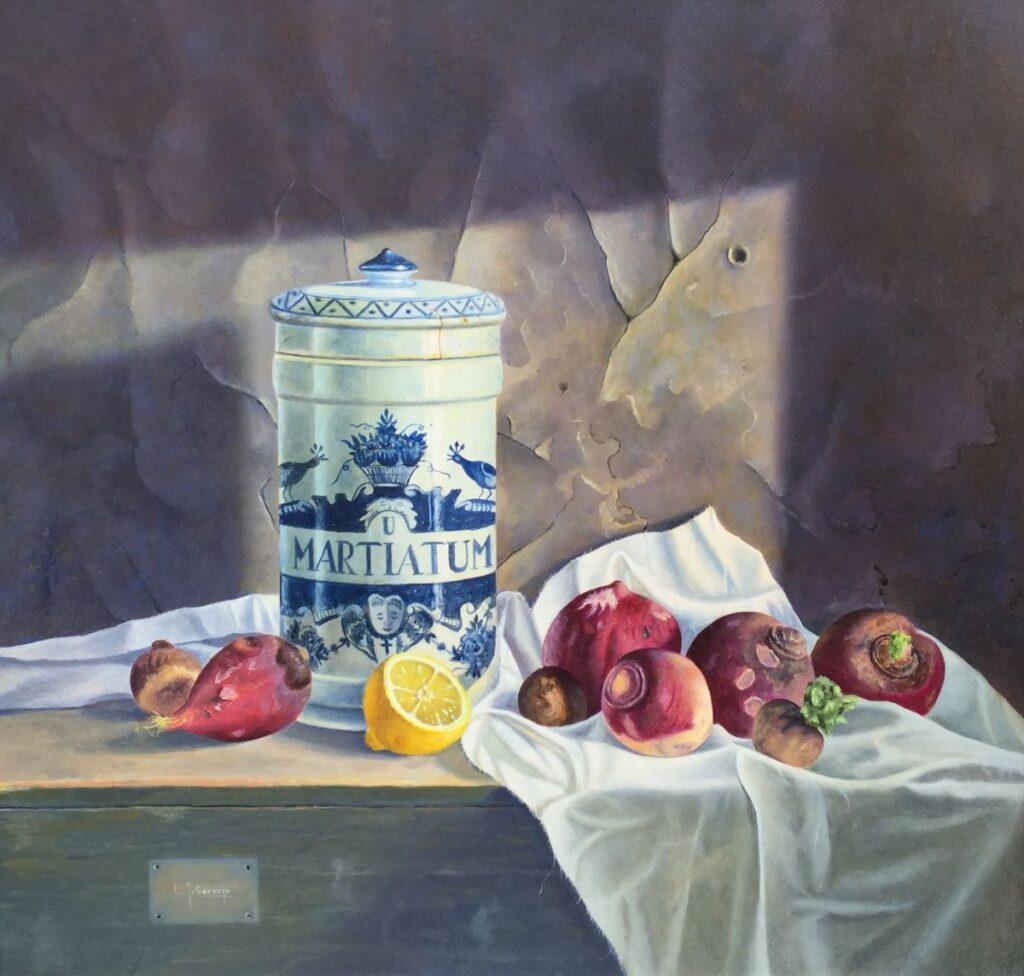 Kunstenaar L. Javier Cornejo c3481W, L. Javier Cornejo 'Stilleven met pot', 1995 Olie op board Beeldmaat: 59 cm x 62 cm Rechtsonder gesigneerd