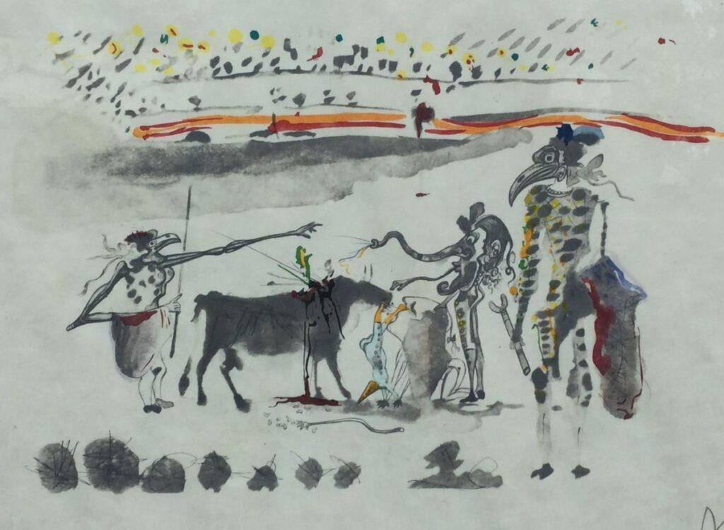 Kunstenaar Salvador Dali C3482W Salvador Dali Stierenvechters litho, beeldmaat 32 cm x 42 cm rechtsonder gesigneerd particuliere collectie
