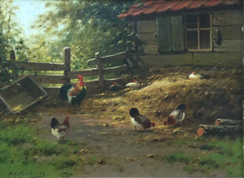 Kunst te koop bij Galerie Wijdemeren van kunstschilder M.A.Koekkoek Eenden en kippen bij boerderij olie op doek, 27.5 x 36.5 cm linksonder gesigneerd
