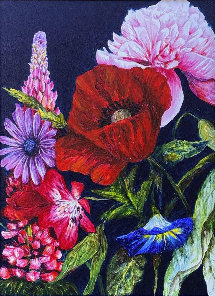 Kunst te koop bij Galerie Wijdemeren, Salam Kadhim Bloemstilleven acryl op alupanel, 40 x 30 cm verso gesigneerd