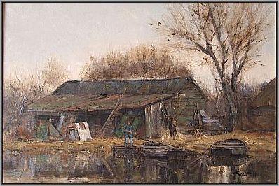Kunstenaar Gosse Goosen 233, Gosse Goosen zoon van F.J. Goosen Naardermeer 1996 olie op doek, 40 x 60 cm gesigneerd r.o. Gosse Goosen verkocht