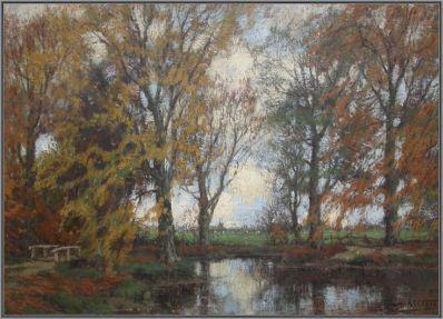 Kunstenaar Arnold Marc Gorter 368, A.M. Gorter Hoge Bomen aan de Vordense Beek olie op doek, 37 x 49 cm verkocht